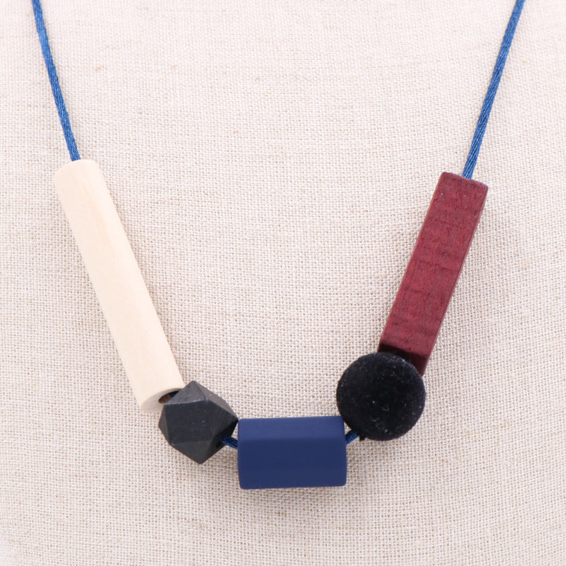 Handmade Toy Block Necklace in Maroon Sophie