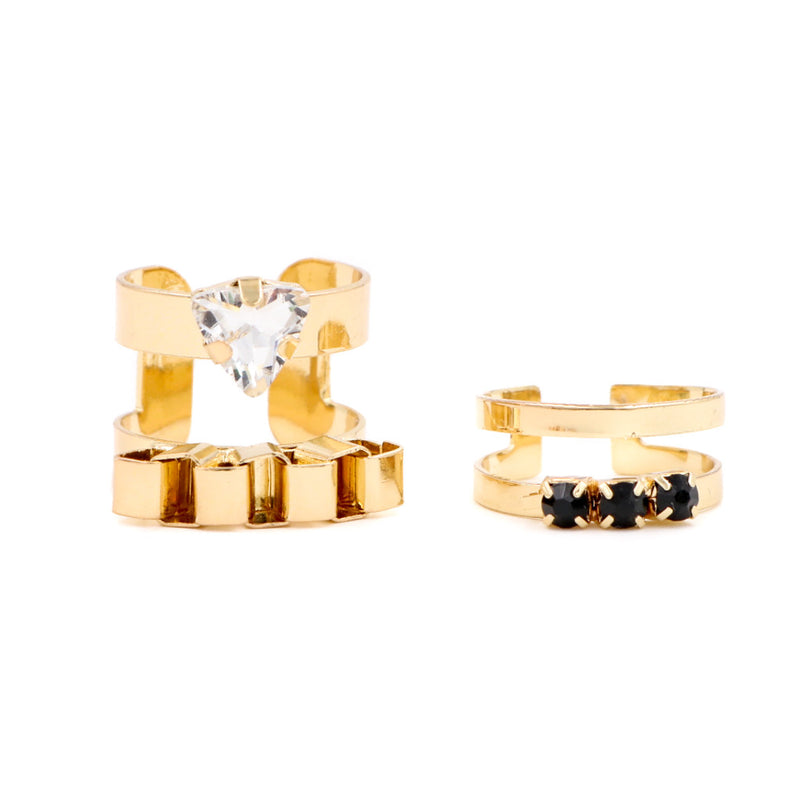 Vera Gems & Crystal Ring in Gold (Set of 2)