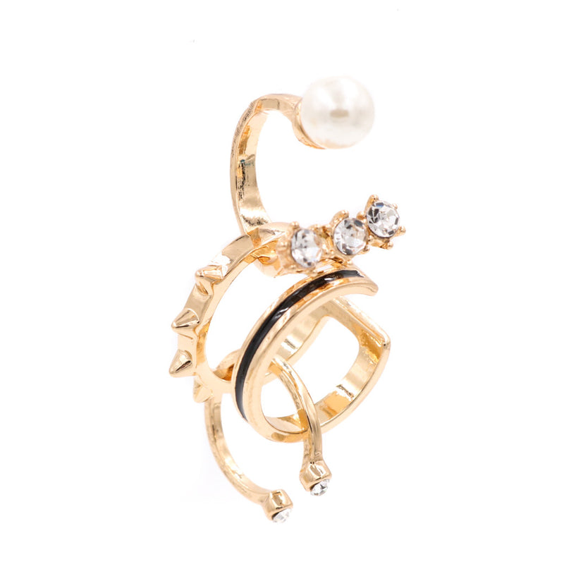 Nana Gem, Studs & Pearl Gold Ring Set