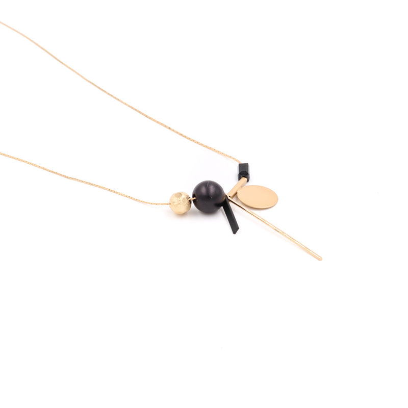 Freya Minimalist Geometric Necklace in Black and Gold
