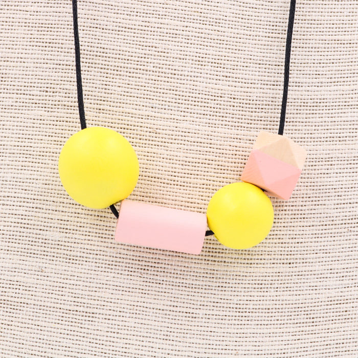 Handmade Summer Pop Necklace in Yellow Pop