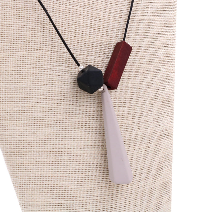 Handmade Mixie Pop Geometric Necklace in Dusk Grey