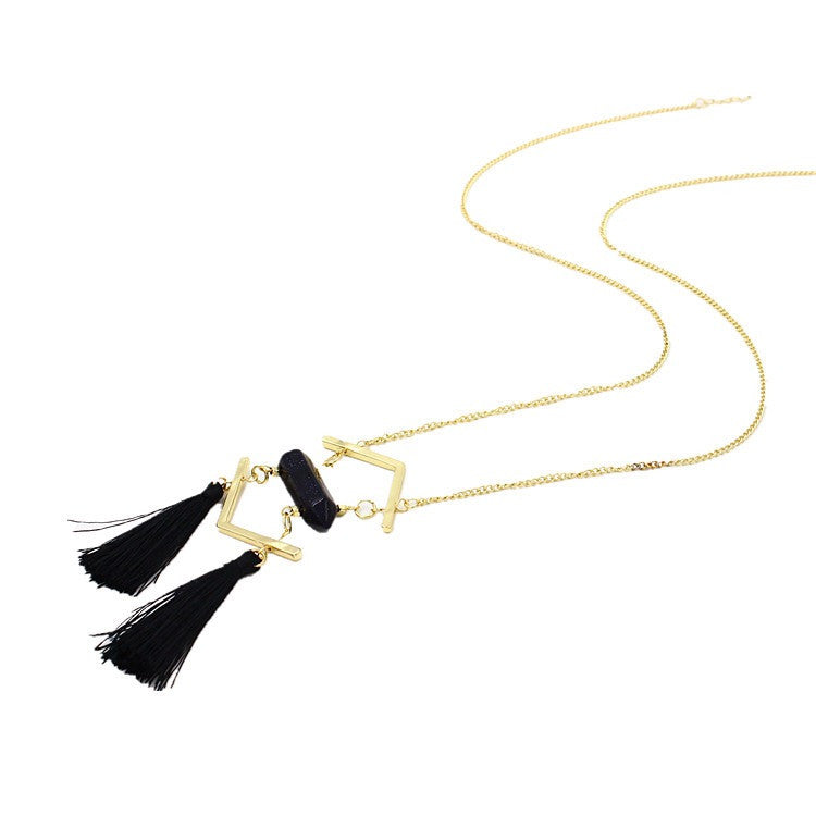 Black Duo Tassel Bar Necklace