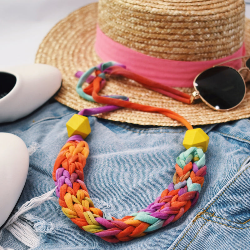 Made-To-Order: Florence Braided Handmade Yarn Necklace in Sunny Paradise