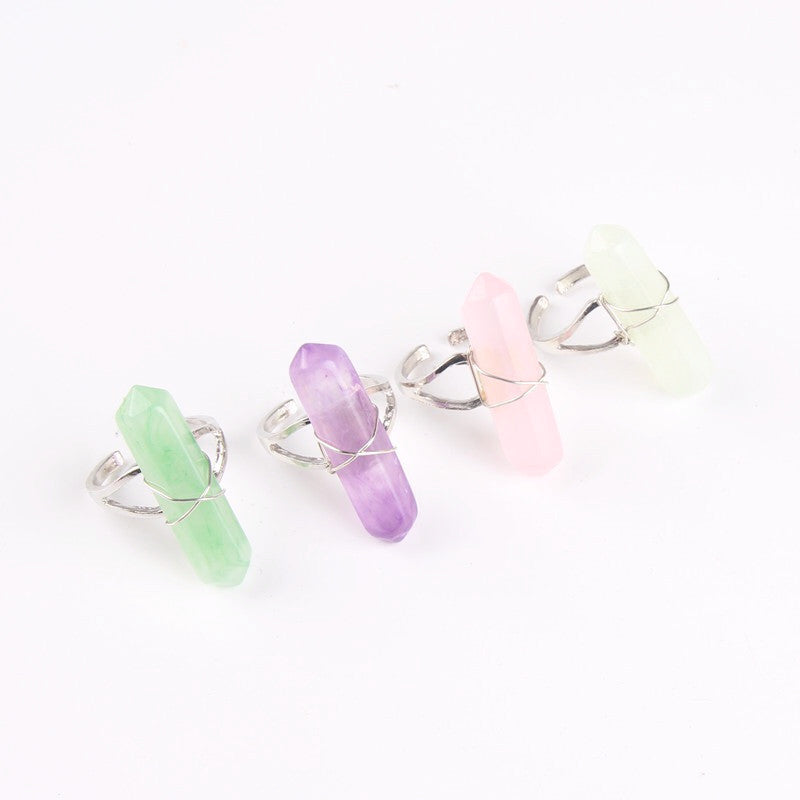 Aurora Quartz Ring - Clear Green