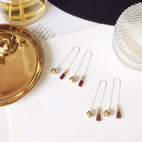 Shan Tassel Drop Earrings (Worn 2 Ways) in Coffee Suede