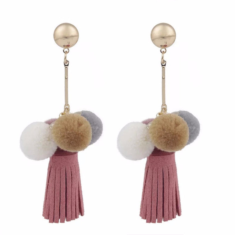 Mong Drop-Down Tassel Pom Pom Earrings ft. Dusty Pink