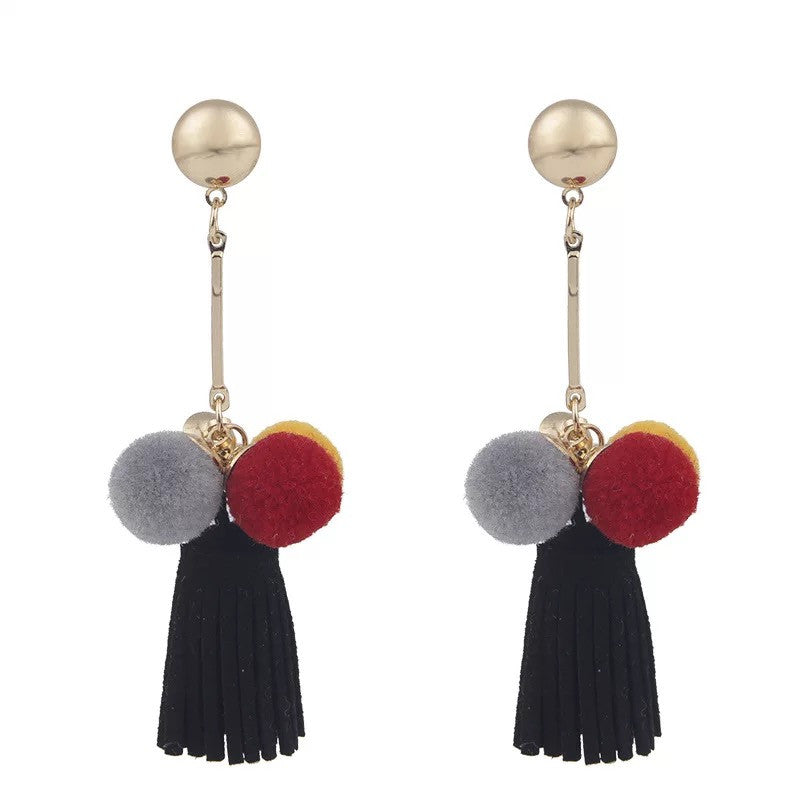 Mong Drop-Down Tassel Pom Pom Earrings ft. Sweet Black
