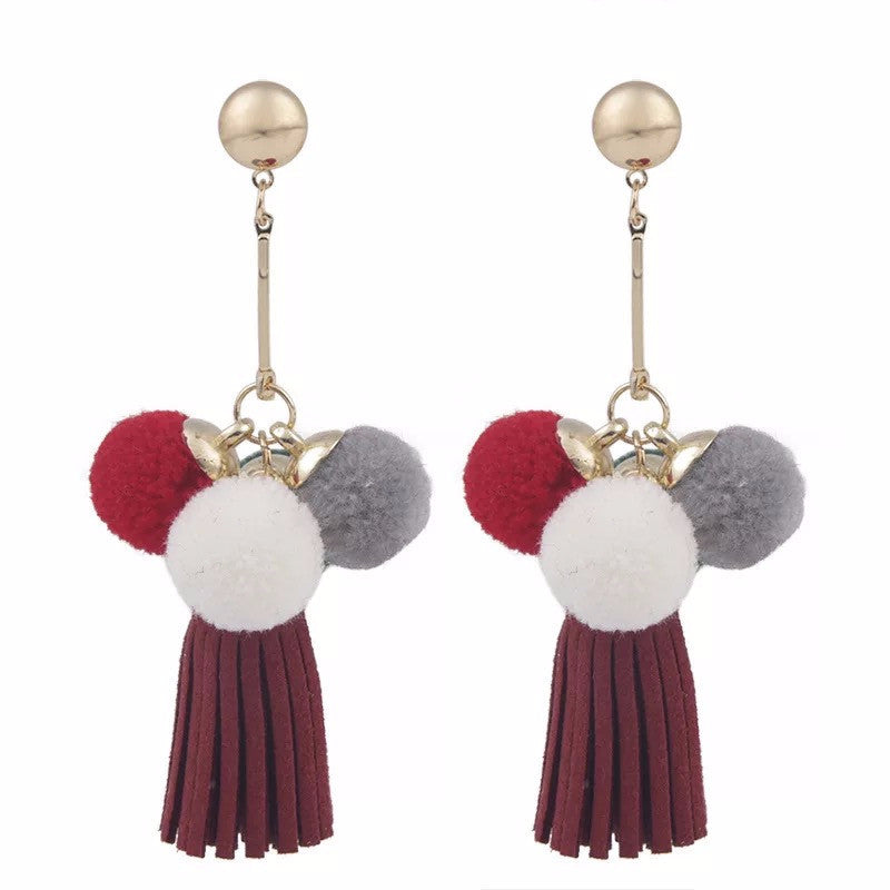 Mong Drop-Down Tassel Pom Pom Earrings ft. Wine Red