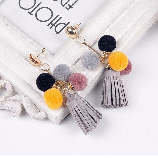 Mong Drop-Down Tassel Pom Pom Earrings ft. Classic Grey