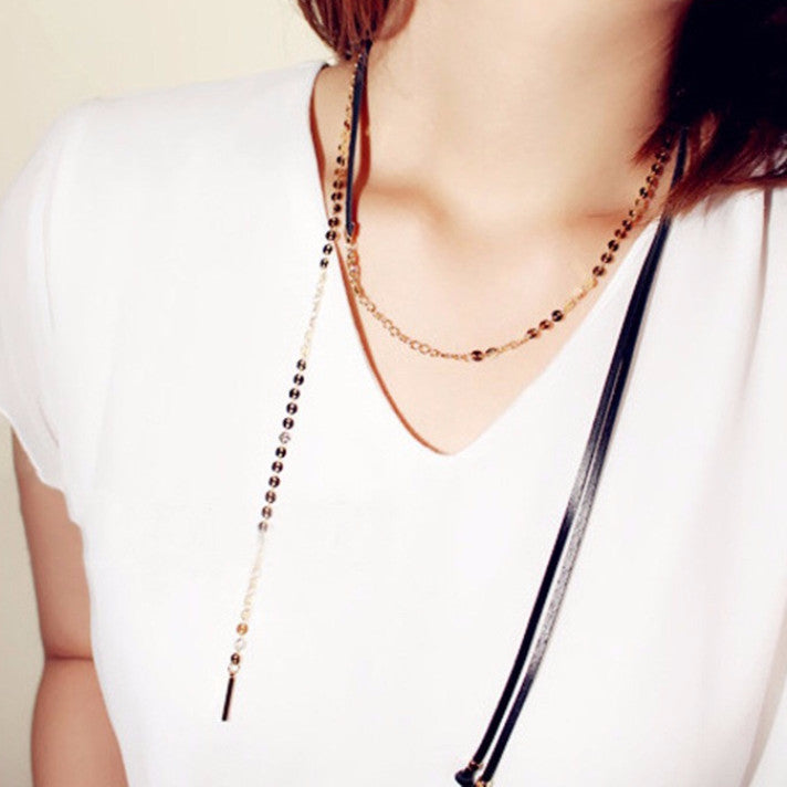 Nana Black & Gold Long Choker Necklace (Worn Multiple Ways)