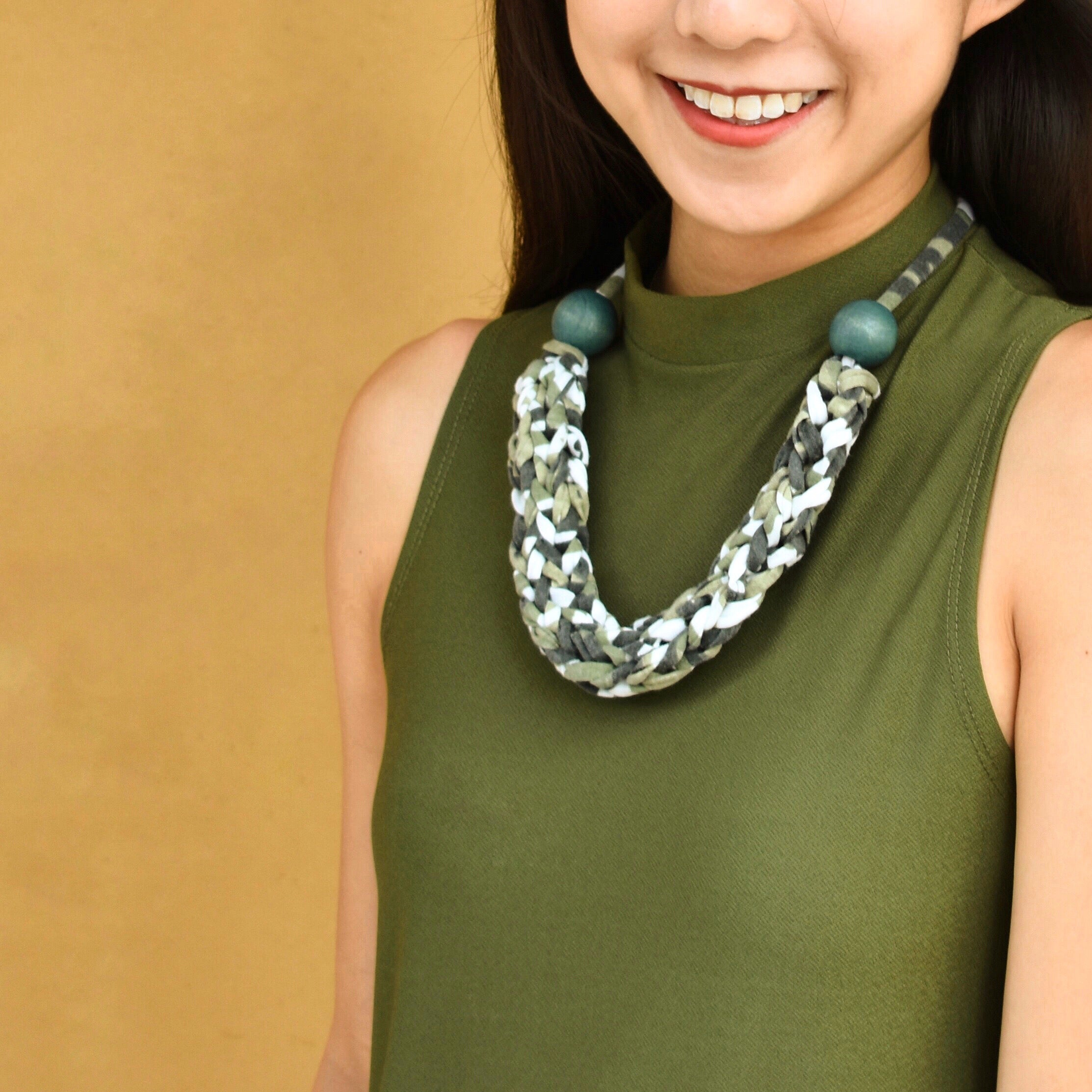Made-To-Order: Florence Braided Handmade Yarn Necklace in Camo Green