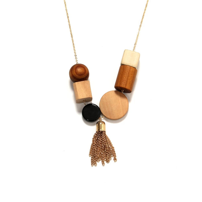 Molly Wood & Gold Tassels Necklace