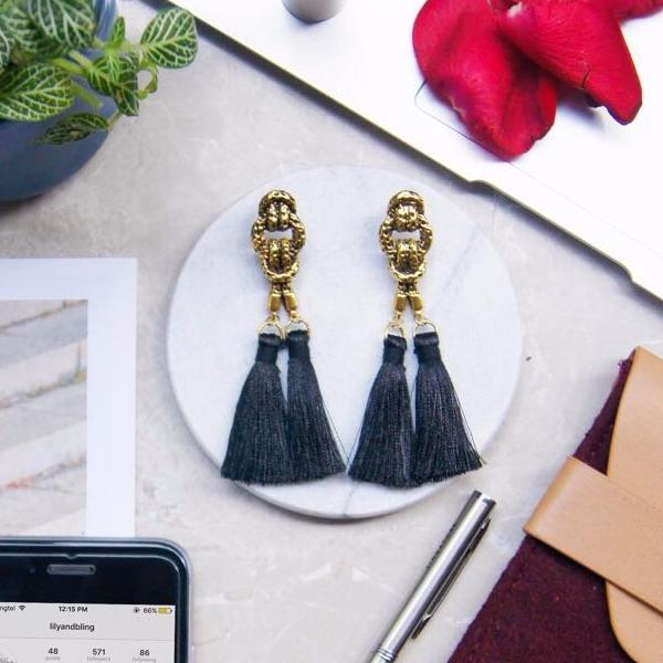 Cleop Tassel Earrings in Starry Night