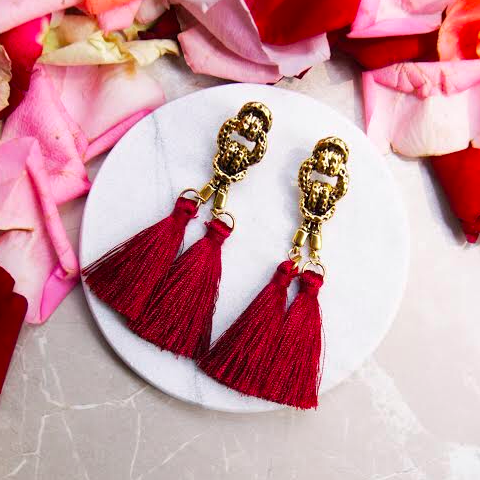 Cleop Tassel Earrings in Red Wine
