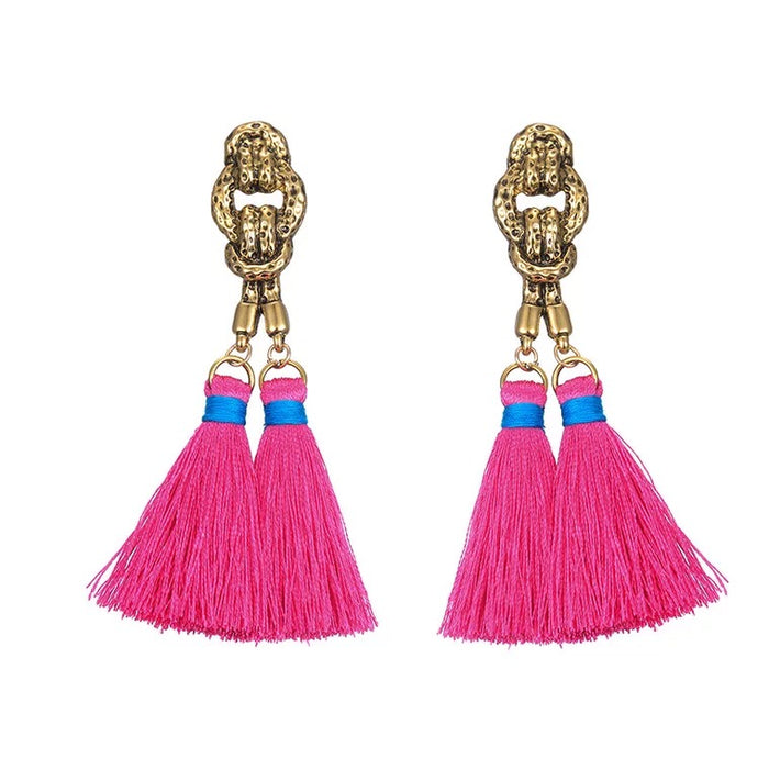 Cleop Tassel Earrings in Fuschia