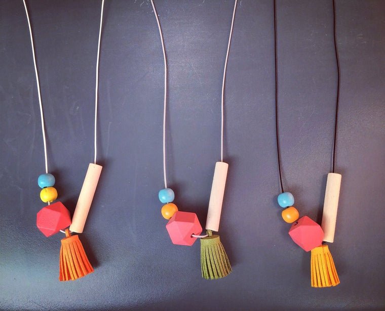 Handmade Chinatown Pop Necklaces - ft. Prosperity Yellow, Festive Orange and Abundance Green