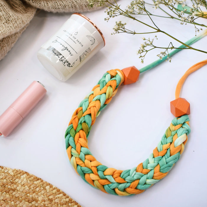 Made-To-Order: Florence Braided Handmade Yarn Necklace in Sunkiss Orange