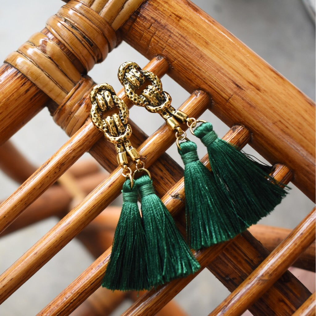 Cleop Tassel Earrings in Forest Green