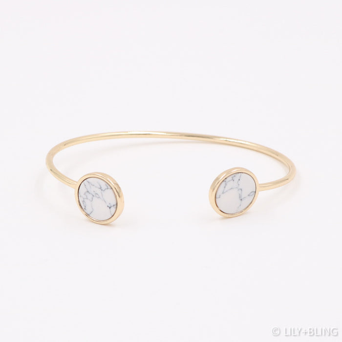 Arianda Marble Bangle in White - Restocked