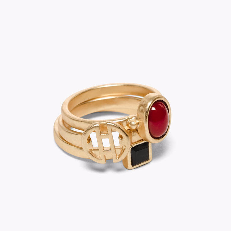 Ruby Tri-Layer Rings