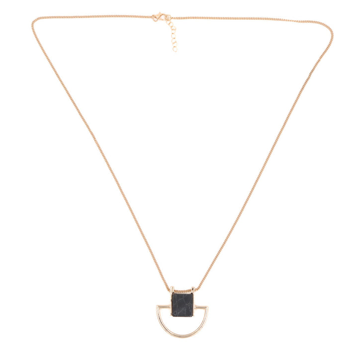 Julia Marble Square Necklace - Black/White (Restocked)