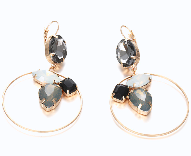 LUXE: Lucy Gem Hoop Earrings in Shades of Grey