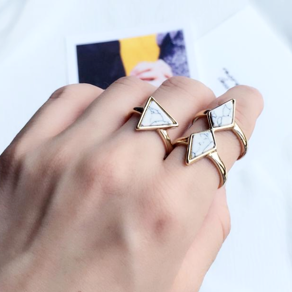 Minimalist Marble Ring - Triangle