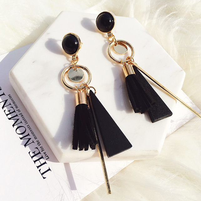 BACK IN STOCK: Lush Black & Gold Tassels Earrings