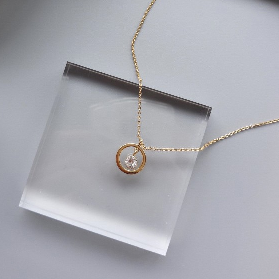 Grecia Minimalist Drop Gem Necklace