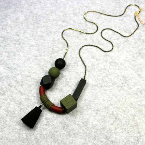 Frecia Tassel Necklace in Black & Olive Green