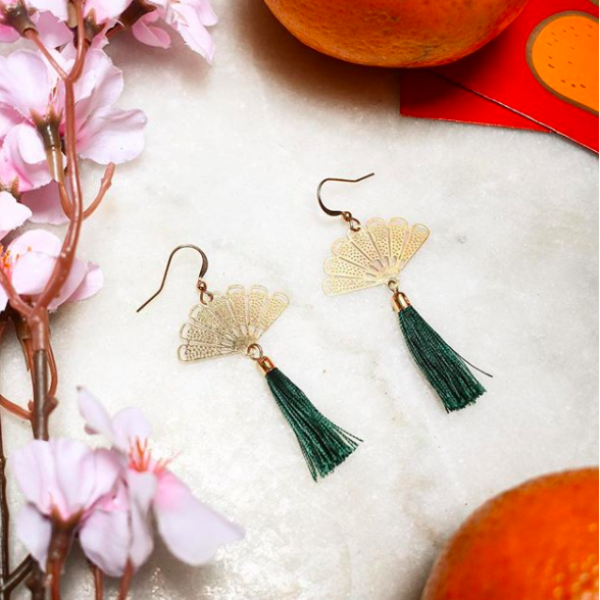 Oriental San Earrings in Mandarin Green