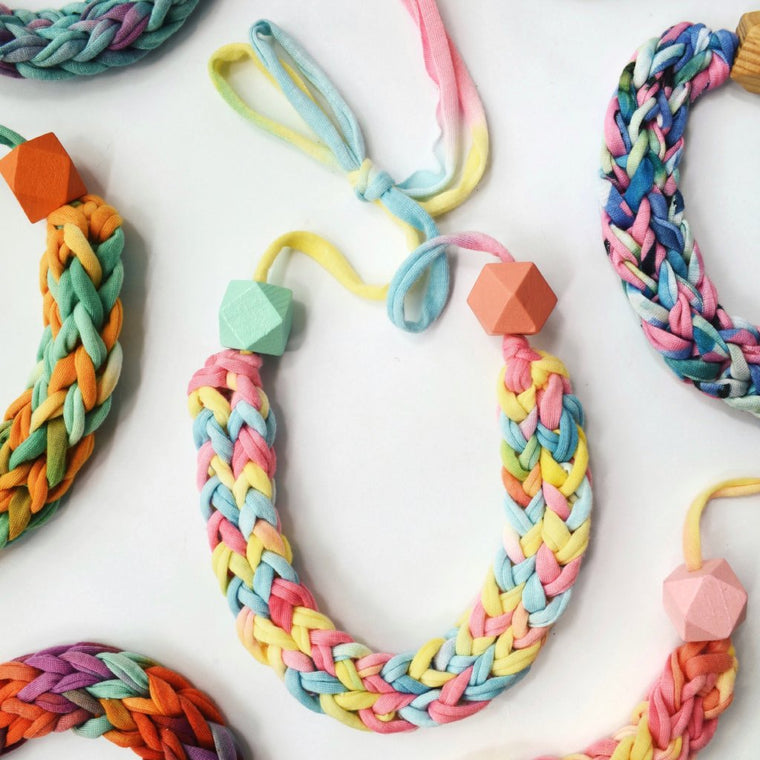 Made-To-Order: Florence Braided Handmade Yarn Necklace in Paddle Pop