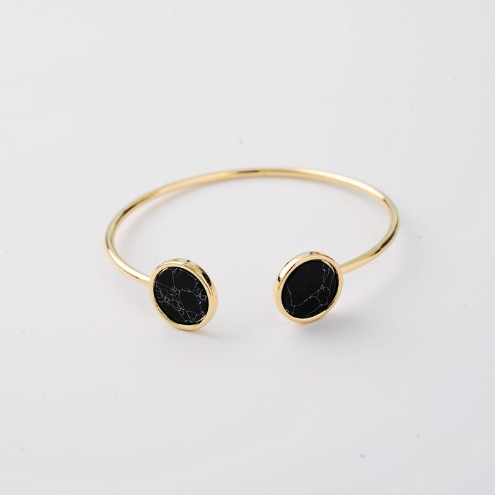 Arianda Marble Bangle in Black - Restocked