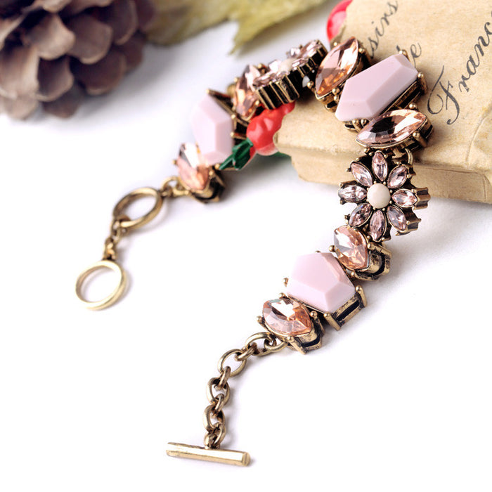 Ellie Gems Bracelet in Dusty Pink