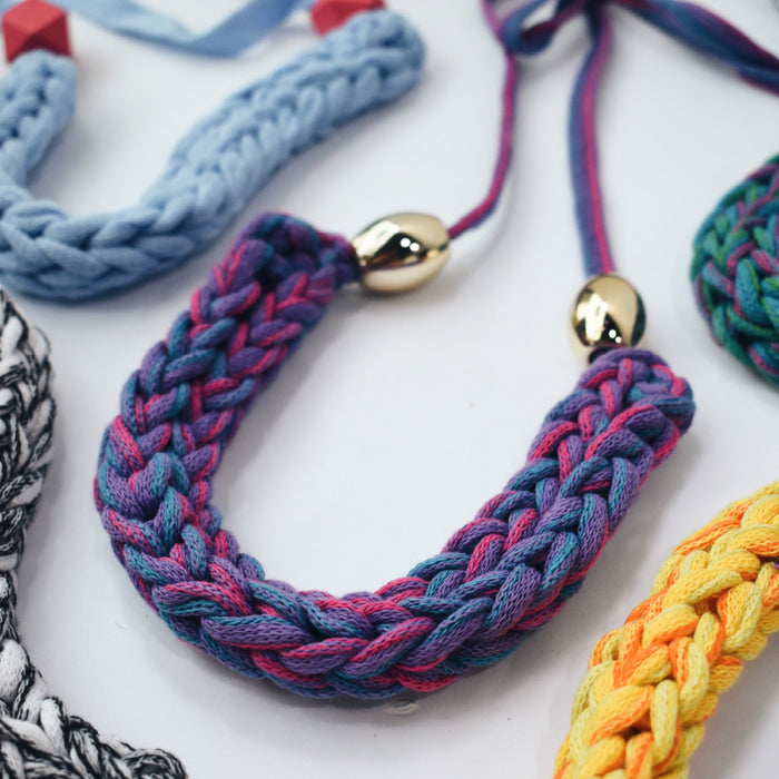 Made-To-Order: Florence Braided Handmade Yarn Necklace in Purpoise & Blue