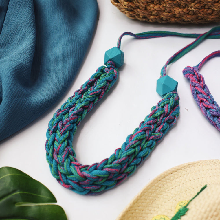 Made-To-Order: Florence Braided Handmade Yarn Necklace in Sea View