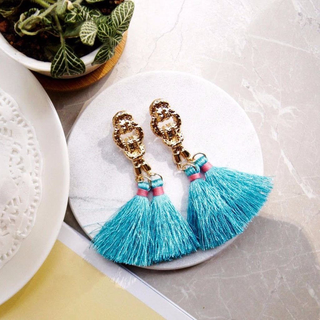 Cleop Tassel Earrings in Wednesday Blue