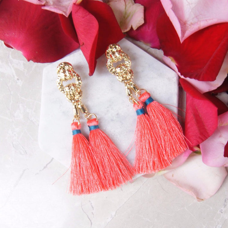 Cleop Tassel Earrings in Mystery Orange