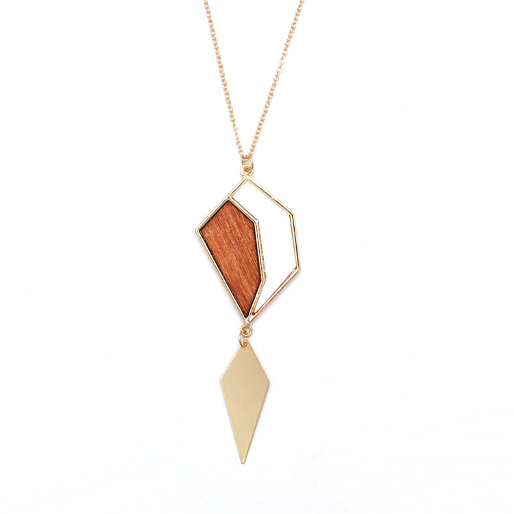 Winnipeg Necklace in Wood & Gold