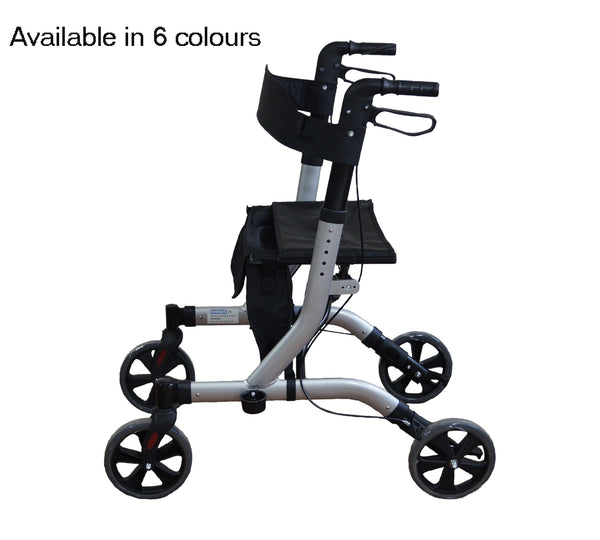 Lightweight Folding Four Wheel Rollator / Zimmer frame grey