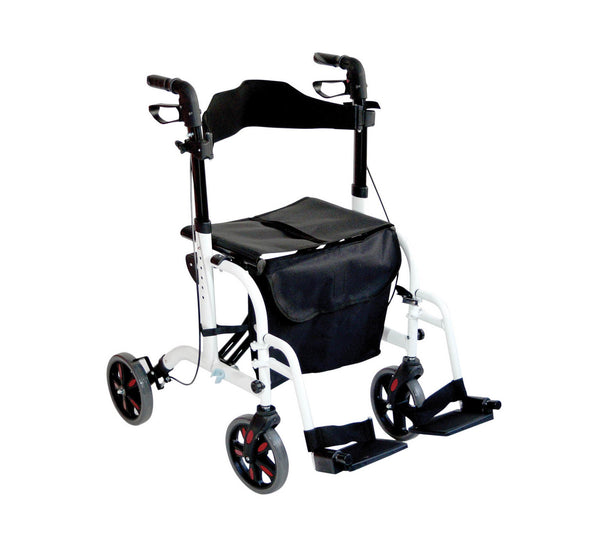 Aidapt Duo Rollator and Transit Wheelchair combined white