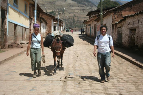 Trekking with Our donkey in Peru