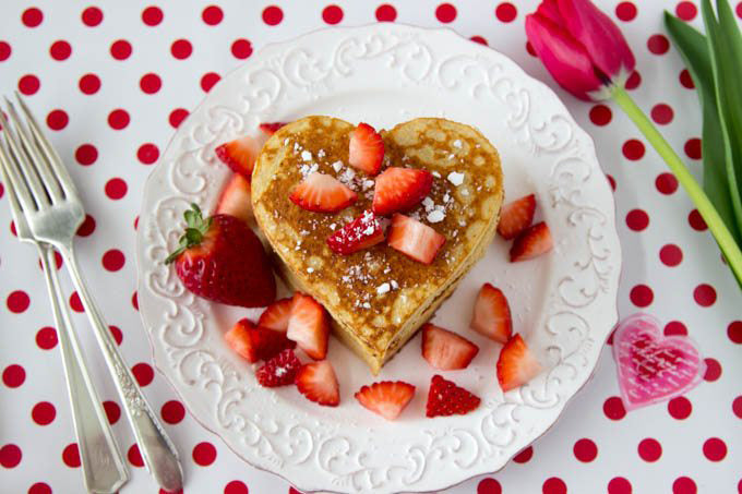 Valentine day surprise for him Heart shaped pancakes