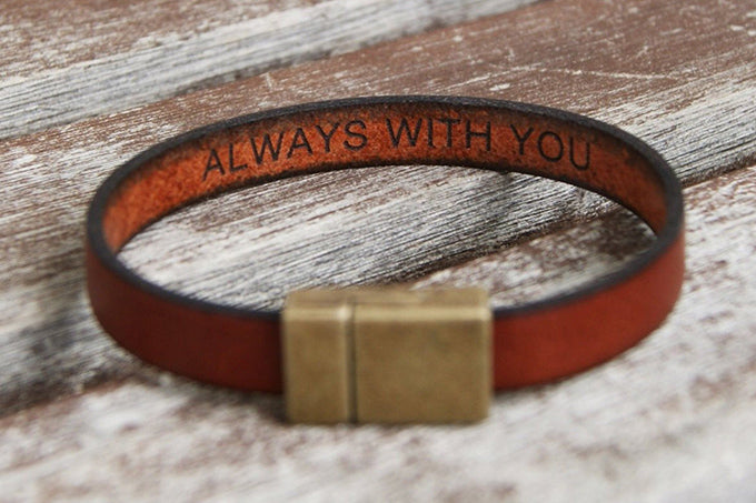 romantic gift for him -  A leather bracelet with a hidden message