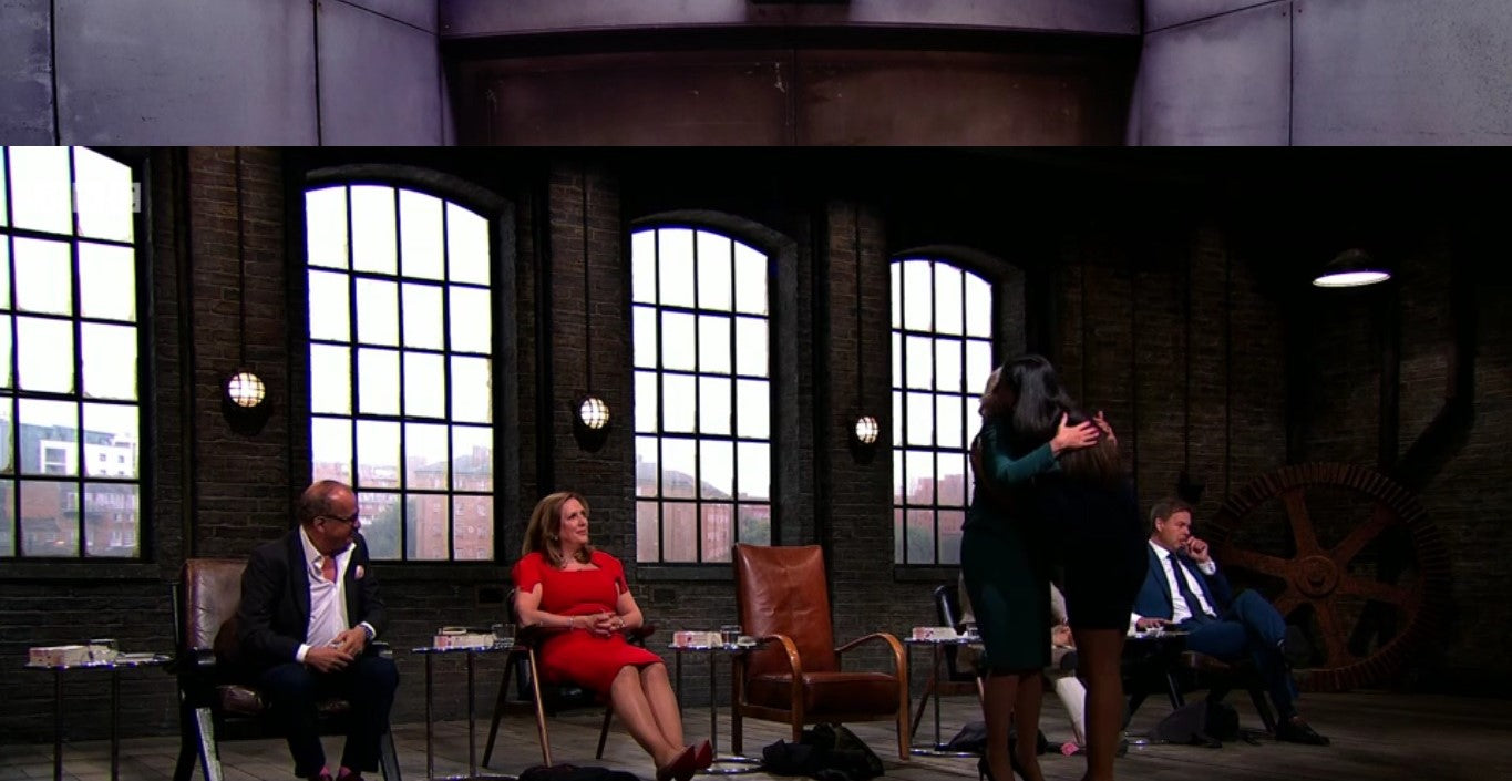 Leila Rose from Kameleon Rose at Dragons' Den BBC TWO with Deborah