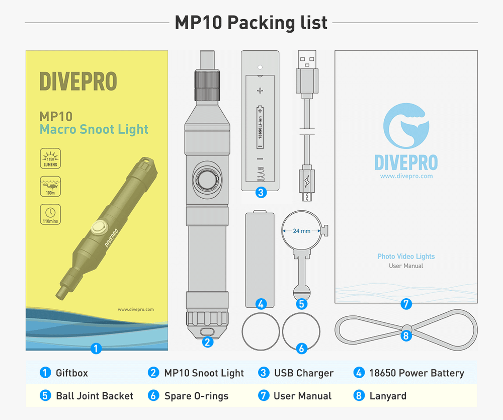 DIVEPRO MP10 Snoot Photography Light