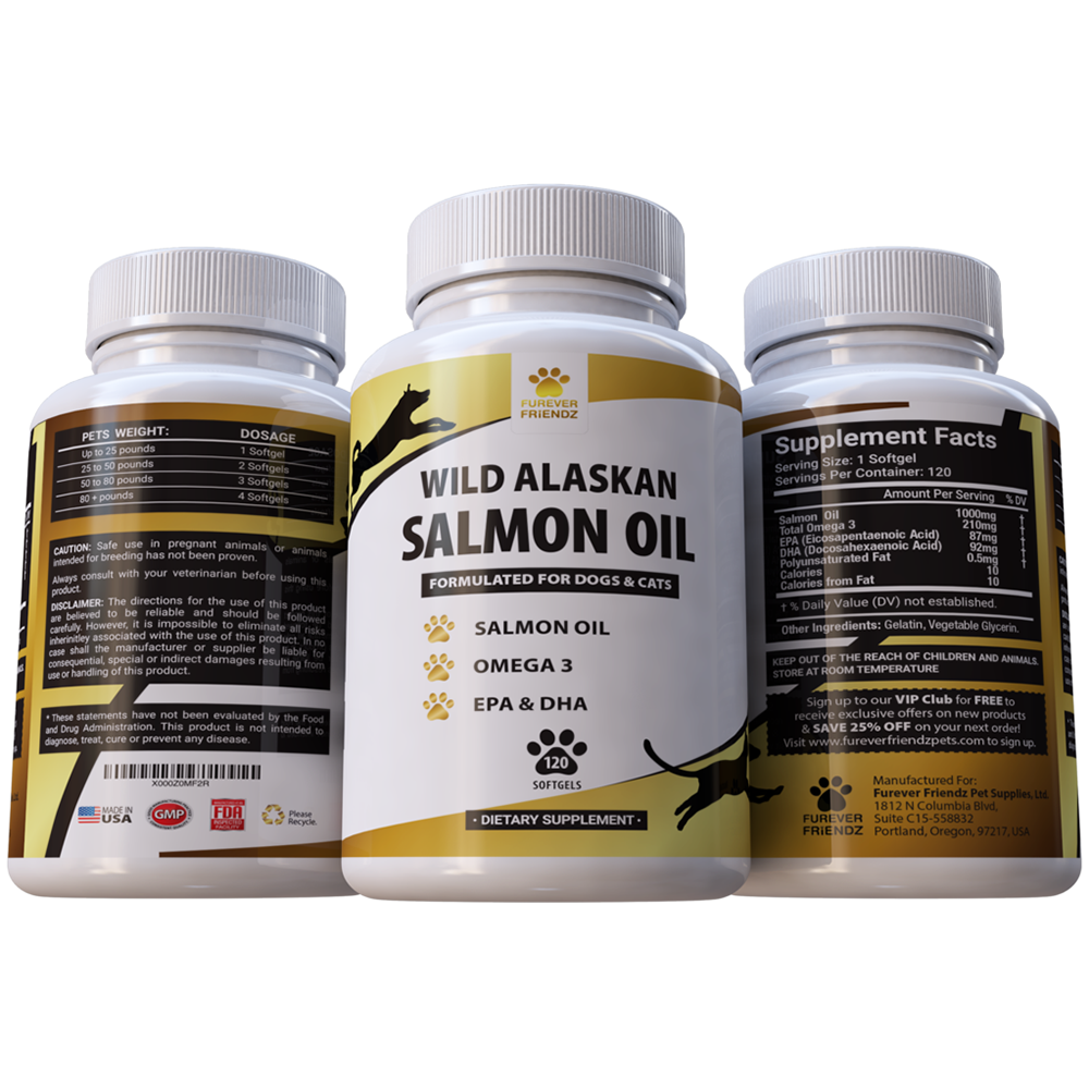 Wild Alaskan Salmon Oil for Dogs and Cats - Helps promote good Skin & Coat - Relieves Allergies (Softgels)