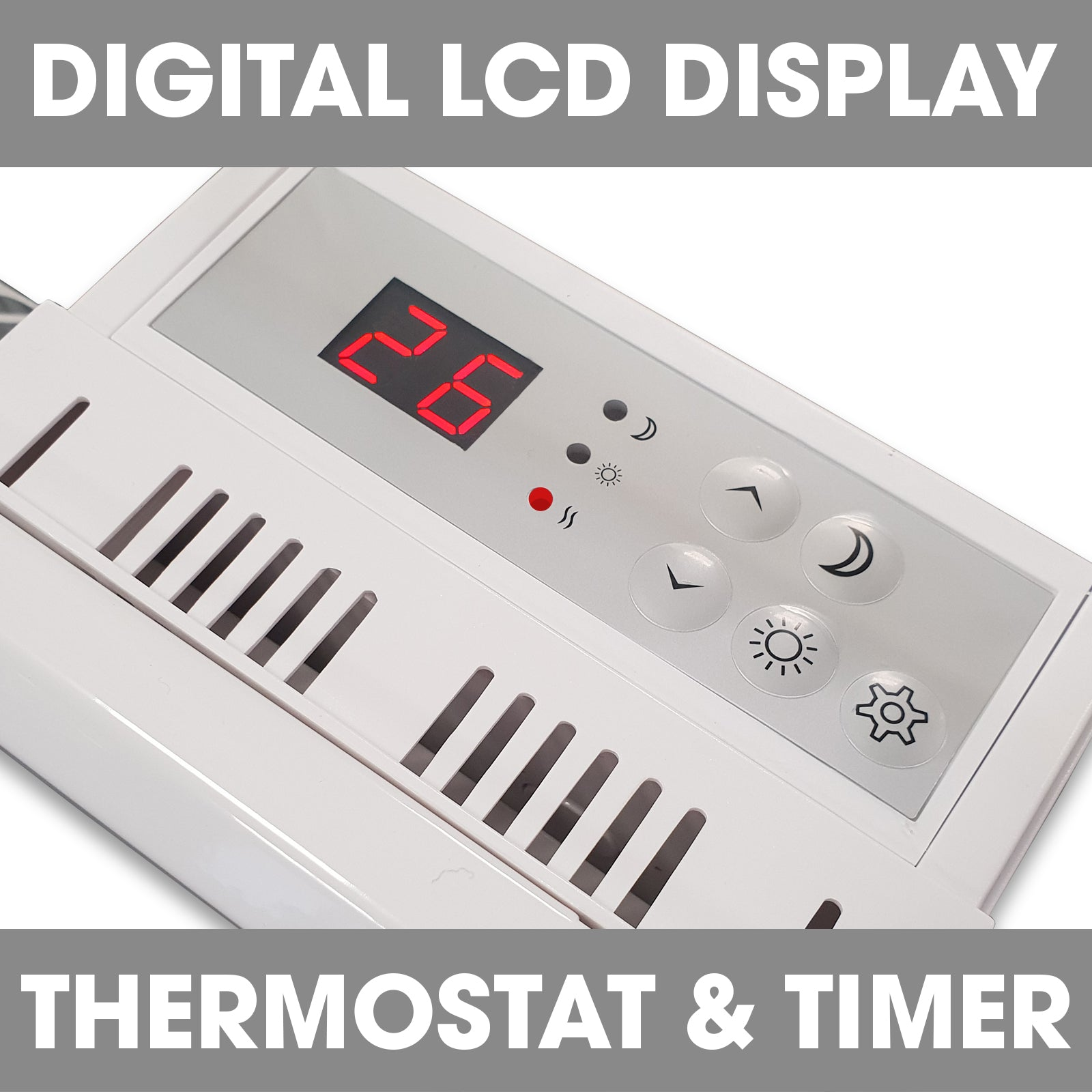 Details about  /1500 W Portable Electric Bedroom Space Heater Adjustable Thermostat LCD Display
