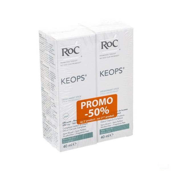 Roc Keops Duo Deo Stick Z/alc Z/parf Norm/h 2x40ml - Roc - InstaCosmetic